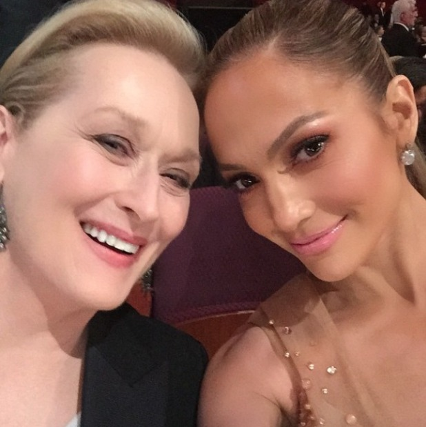 Jennifer Lopez and Meryl Streep at the Oscars 2015, 22 February 2015