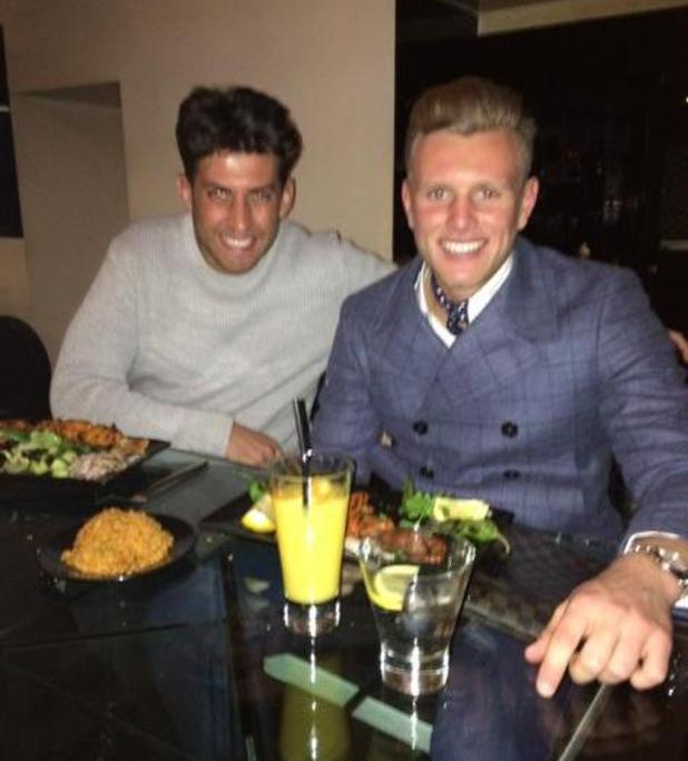 TOWIE's James 'Arg' Argent celebrates his return to the ITVBe reality show with co-star Tommy Mallet. 24 February 2015.
