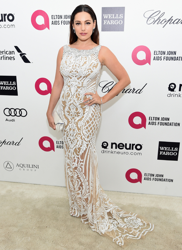 Kelly Brook attends Elton John's Academy Awards party in LA 22 February