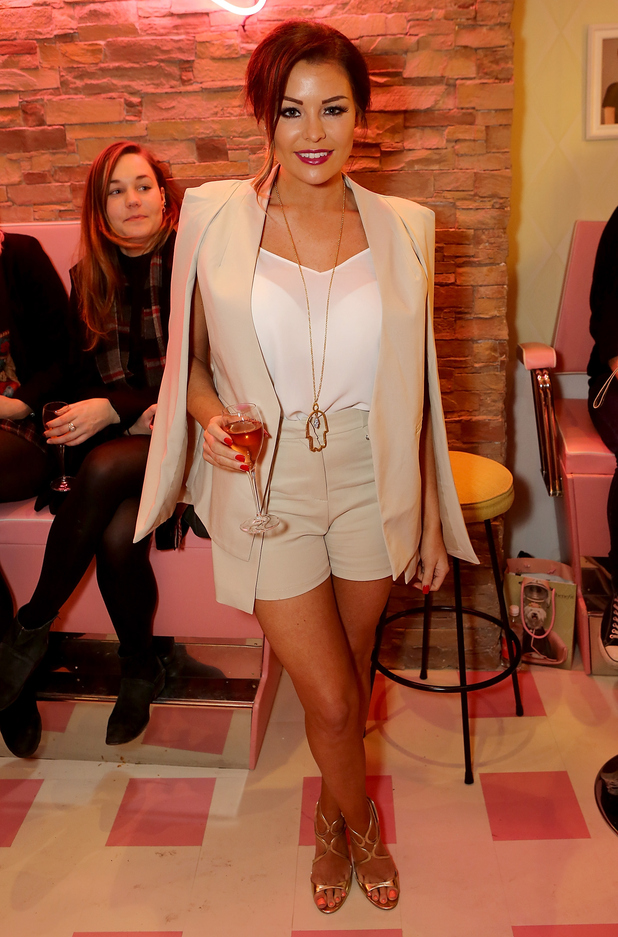 Jessica Wright attends 'Curl's Best Friend' Pop-Up Curl And Cocktail Parlour By Benefit Cosmetics, London 26 February