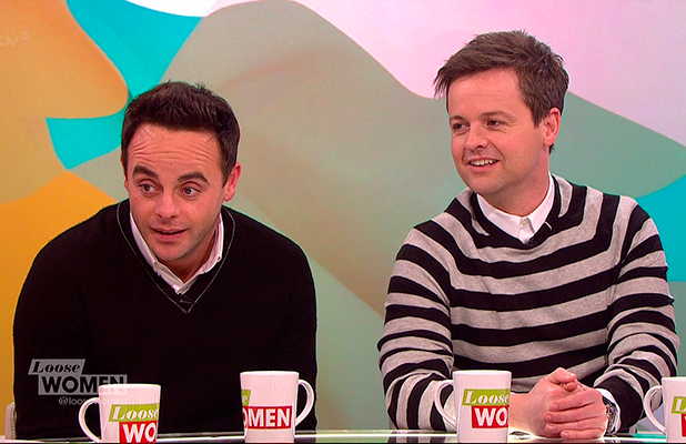 Ant & Dec discussing 'The Brit Awards 2015', which they presented, and promoting their Saturday night show 'Ant & Dec's Saturday Night Takeaway' on 'Loose Women'. Broadcast on ITV1 HD.