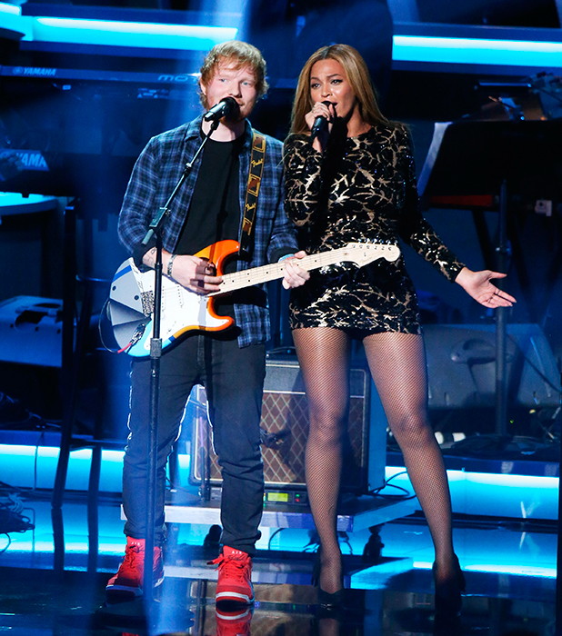 Ed Sheeran (L) and Beyonce perform onstage during the Stevie Wonder: Songs In The Key Of Life - An All-Star GRAMMY Salute held at Nokia Theatre L.A. Live on February 10, 2015 in Los Angeles, California.