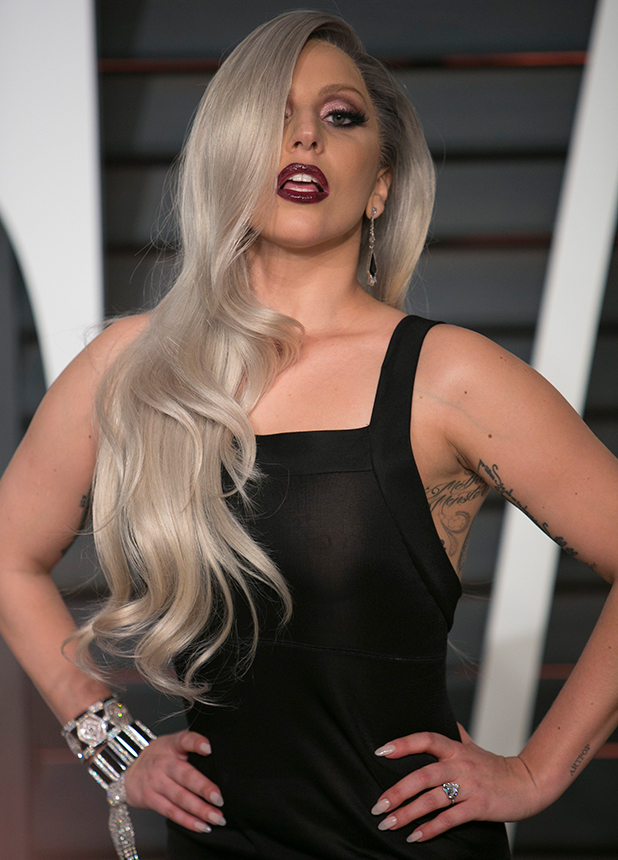 Lady Gaga attends the 2015 Vanity Fair Oscar Party hosted by Graydon Carter at the Wallis Annenberg Center for the Performing Arts on February 22, 2015 in Beverly Hills, California.