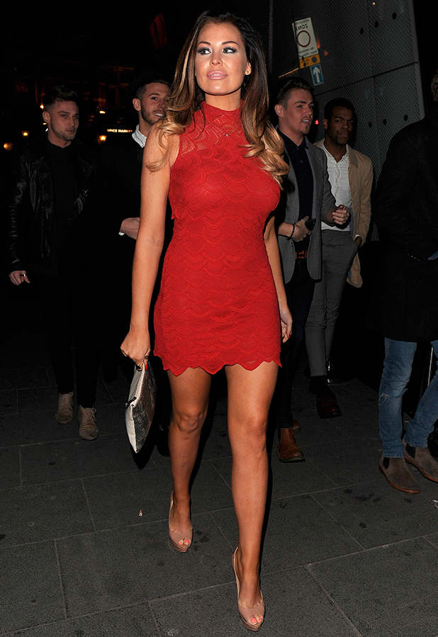 Jessica Wright takes a break from filming the new series of 'The Only Way Is Essex' to spend the evening in the West End, 21 February 2015