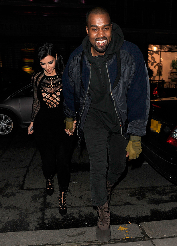 Kim Kardashian and Kanye West enjoy a late dinner date at Hakkasan restaurant in Mayfair, 25 February 2015