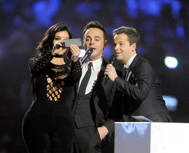 Kim Kardashian on stage with Ant and Dec at the BRIT Awards 2015 at The O2 Arena on February 25, 2015 in London, England. (Photo by Dave J Hogan/Getty Images)