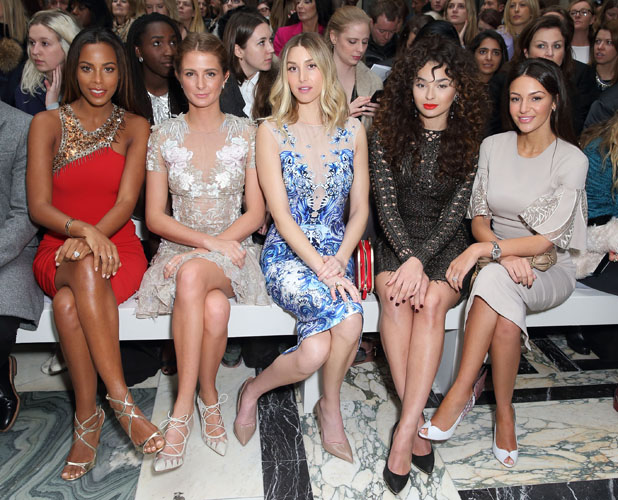 Vanessa White, Rochelle Humes, Millie Mackintosh, Whitney Port, Ella Eyre and Michelle Keegan attend the Julien Macdonald show during London Fashion Week Fall/Winter 2015/16 on February 21, 2015 in London