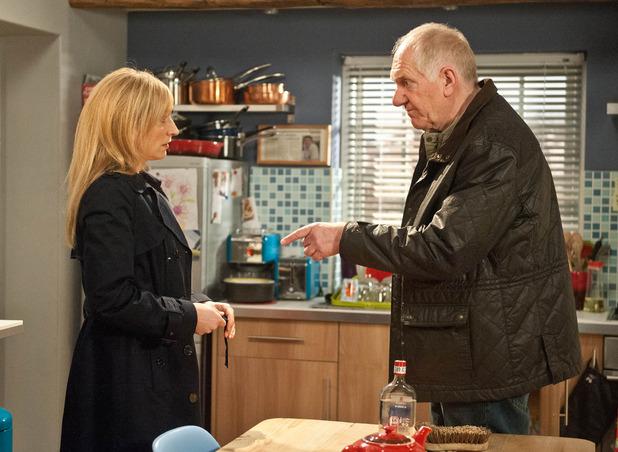 Emmerdale, Doug finds Laurel's vodka stash, Wed 4 Mar