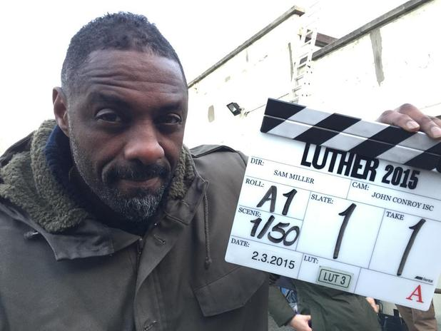 Idris Elba returns to filming for BBC's Luther two-part special - 3 March 2015.