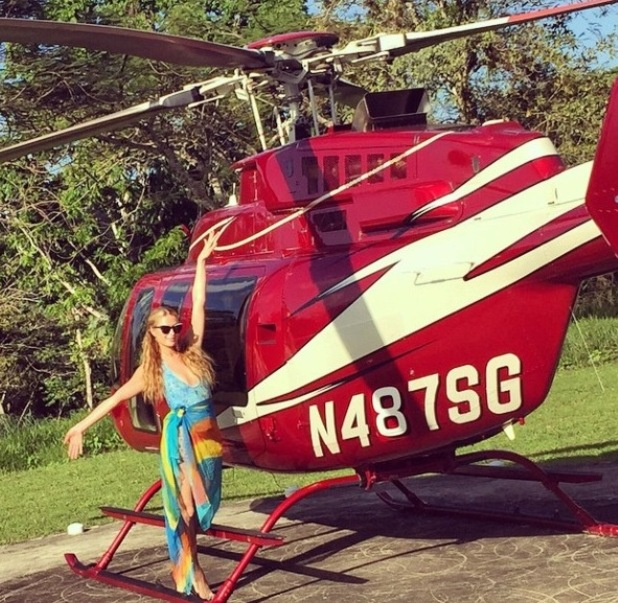 Paris Hilton by helicopter in Jamaica, 2/3/15