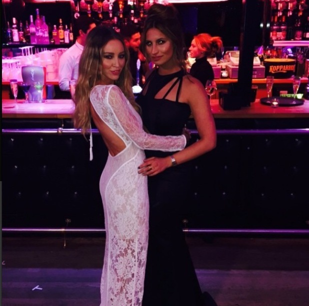 Lauren Pope and Ferne McCann pose in an Instagram snap last night at TOWIE bash (4 March)