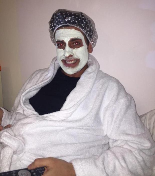 James 'Arg' Argent watches his return to TOWIE with co-star Tommy Mallet and wears a face mask - 1 March.