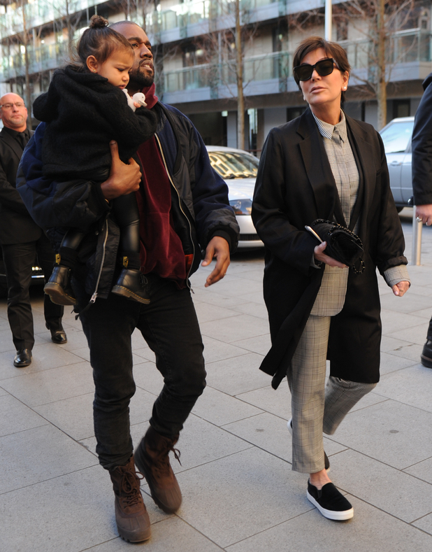 Kanye West and Kris Jenner seen out in London with baby North - 3 March 2015.