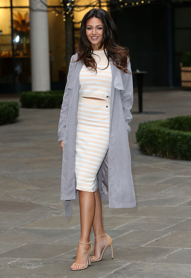 Michelle Keegan looks cute in a candy-coloured co-ord from her collection at Lipsy press day (2 February)