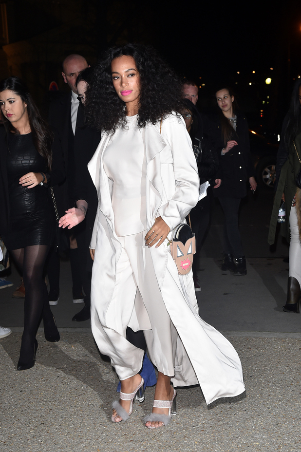 Solange Knowles arrives at the H&M runway show in Paris yesterday (4 March)