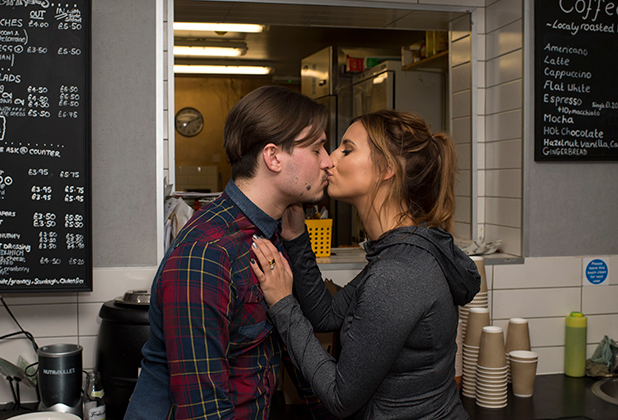 Charlie Sims and Ferne McCann share time together in Charlie's Deli after hours 27 Feb 2015