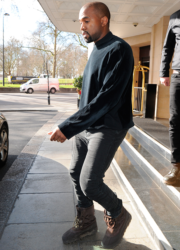 Kanye West seen leaving his London hotel, 2 March 2015