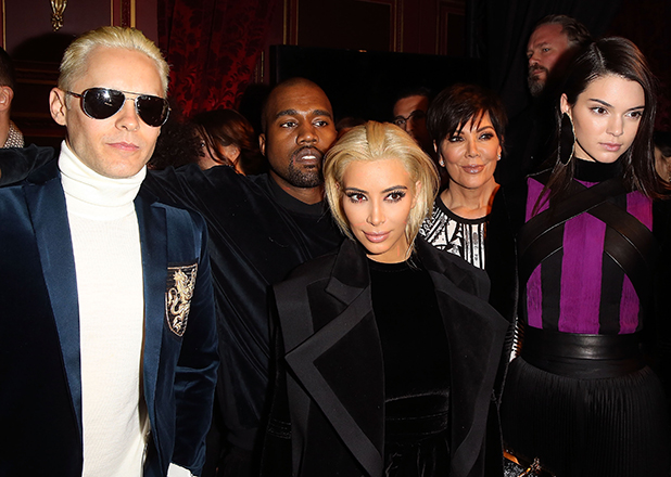 Jared Leto, Kanye West, Kim Kardashian, Kris Jenner and Kendall Jenner attend the Balmain show as part of the Paris Fashion Week Womenswear Fall/Winter 2015/2016 on March 5, 2015 in Paris, France. (Photo by Michel Dufour/WireImage)