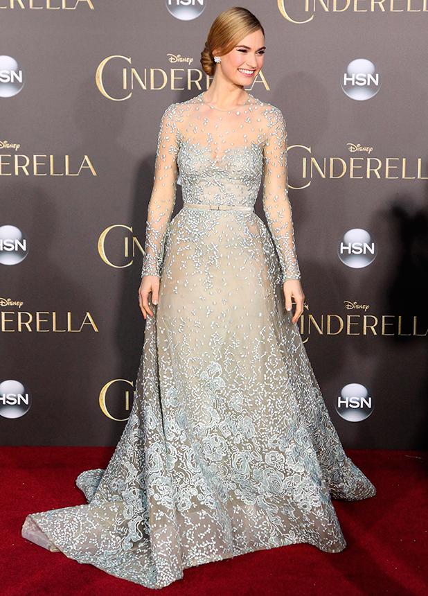Lily James, Los Angeles premiere of Disney's 'Cinderella' at at the El Capitan Theatre, 1 March 2015