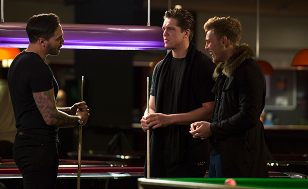TOWIE filming: Mario Falcone, Lewis Bloor and Tommy Mallet meet at the snooker club 3 Mar 2015
