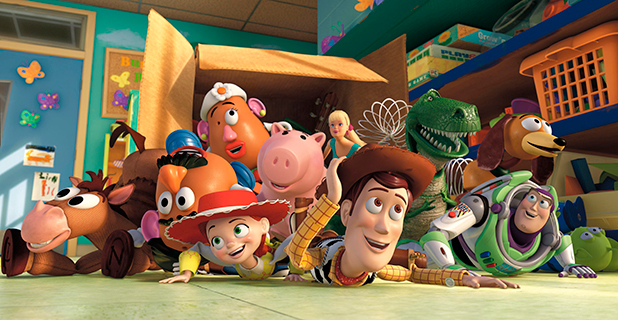 TOY STORY 3, Mr. Potato Head (second from left, voice: Don Rickles), Jessie (left of center, voice: Joan Cusack), Woody (right of center, voice: Tom Hanks), Buzz Lightyear (front right, voice: Tim Allen) 4 Feb 2010