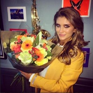 Made In Chelsea's Lauren Frazer Hutton receives flowers from boyfriend Spencer Matthews - 10 March.