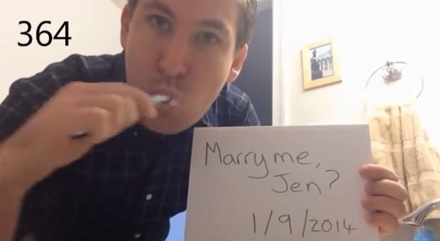 Dean Smith proposing to Jennifer Kessel while brushing teeth
