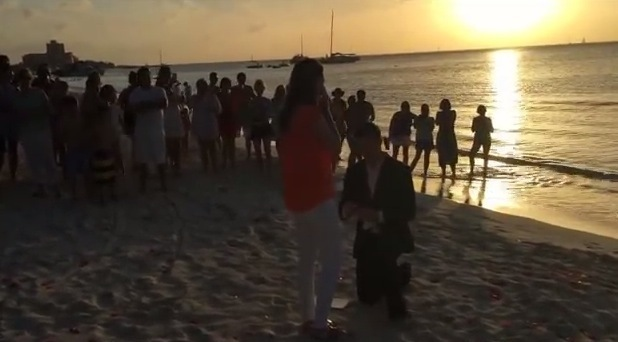 Dean Smith proposing to Jessica Kessel on beach