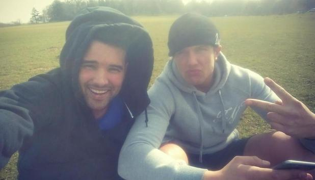 TOWIE's Ricky Rayment enjoys a spot of football with co-star Lewis Bloor - 13 March.