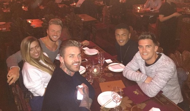 Holly Hagan, Kyle Christie, Gary Beadle, Aaron Chalmers, Nathan Henry have dinner in Camden, London - Twitter 10 March