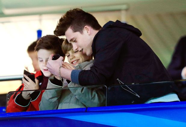 Cruz Beckham, Romeo Beckham and Brooklyn Beckham at the Chelsea v Paris Saint Germain, UEFA Champions League football match, Stamford Bridge, London, Britain - 11 Mar 2015.
