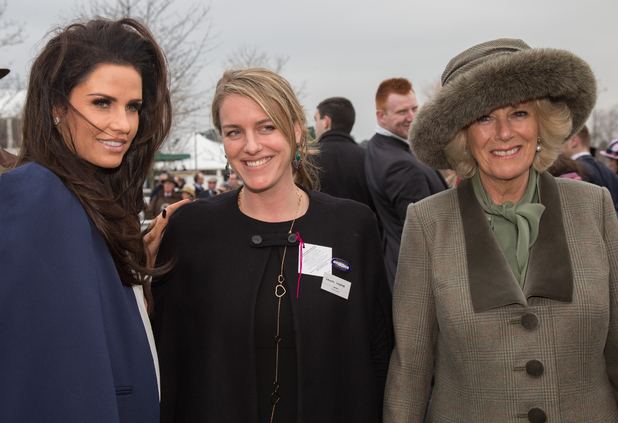 Katie Price poses with Camilla, Duchess of Cornwall and her daughter Laura Lopes on March 11, 2015 in Cheltenham, England.