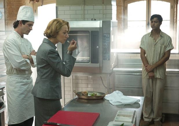 helen mirren & manish dayal in The Hundred-Foot journey french kitchen