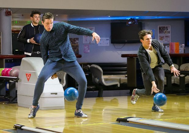 Lewis Bloor, Jake Hall and James Argent filming at bowling - 11 Mar 2015.