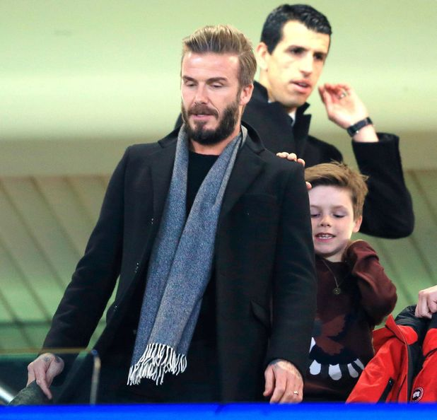 David Beckham and son Cruz at the Chelsea v Paris Saint Germain, UEFA Champions League football match, Stamford Bridge, London, Britain - 11 Mar 2015.