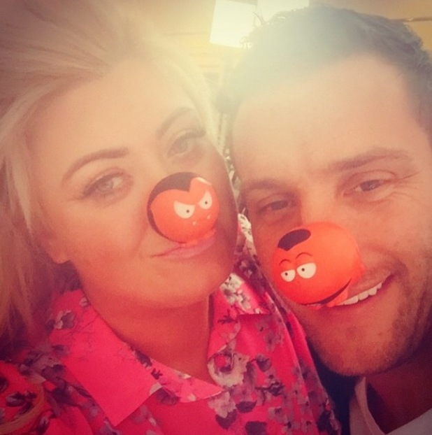 TOWIE's Gemma Collins and Elliott Wright sport red noses for Comic Relief - 13 March 2015.
