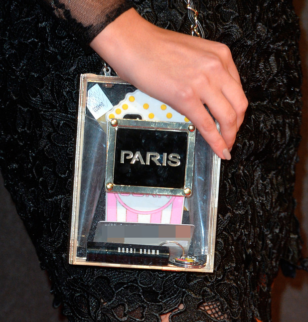 Lucy Watson shows us whats in her bag at Insurgent premiere (11 March)