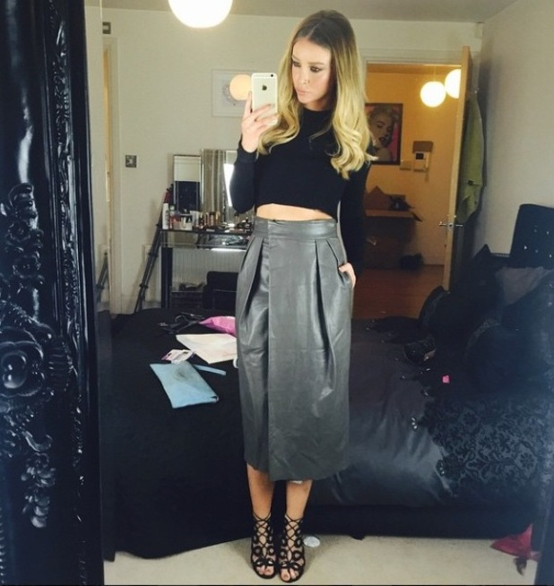 Lauren Pope midi skirt and black top Instagram outfit, 12/3/15
