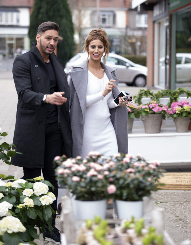 Mario Falcone and Ferne McCann shop for Mother's Day flowers, TOWIE filming, Essex 9 March
