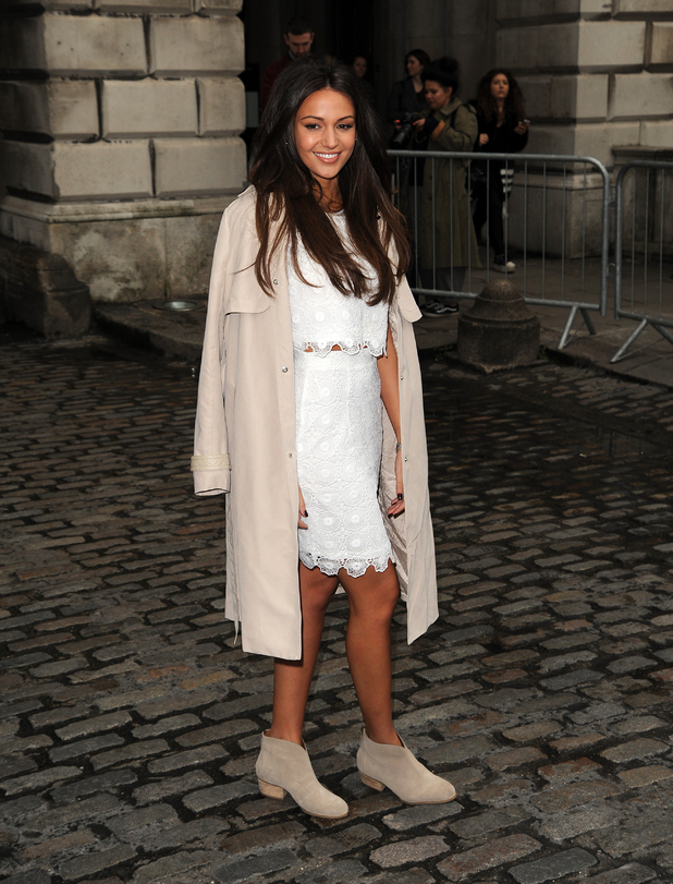 Michelle Keegan looking chic in her Lipsy Collection as she arrives at the Bora Asku show at LFW.