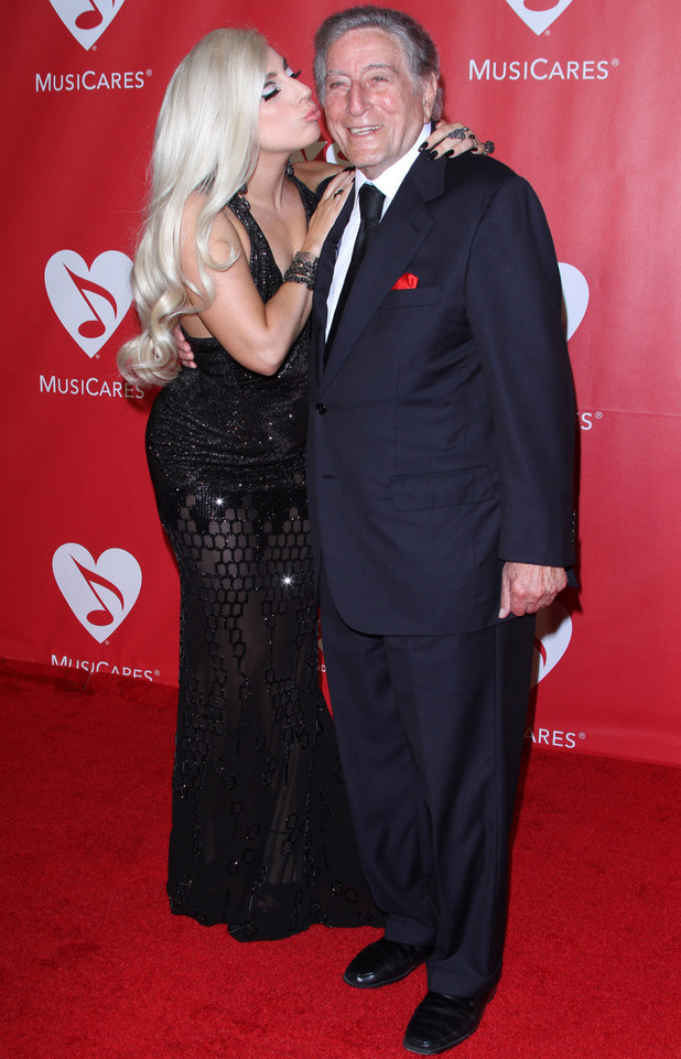 Lady Gaga and Tony Bennett, 2015 MusiCares Person of the Year gala honoring Bob Dylan at the Los Angeles Convention Center, LA 6 February