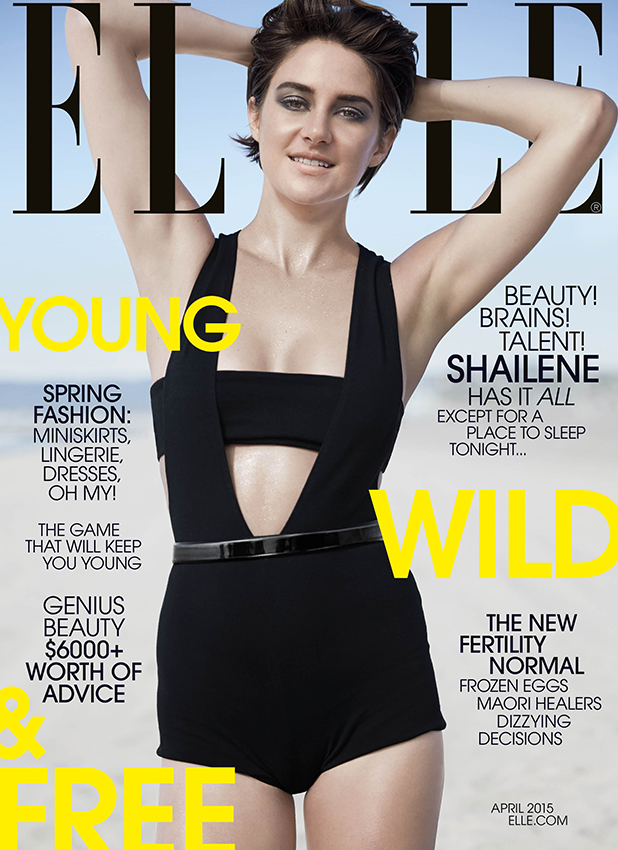SHAILENE WOODLEY COVERS THE APRIL ISSUE OF ELLE On newsstands nationwide March 24