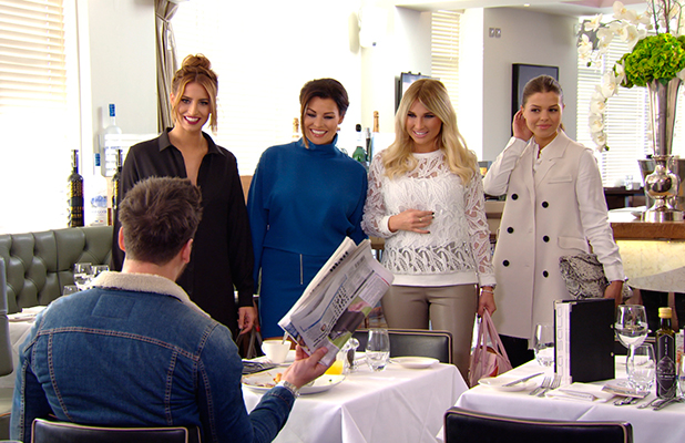 TOWIE publicity still for episode 11 March 2015: Mario Falcone gets cornered by Ferne, Billie, Jess and Chloe Lewis