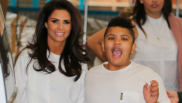 Katie Price outside ITV Studios today with son Harvey, 13 March 2015