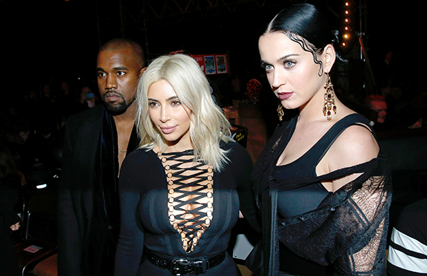 Kanye West, Kim Kardashian and Katy Perry attend the Givenchy show as part of the Paris Fashion Week Womenswear Fall/Winter 2015/2016 on March 8, 2015 in Paris, France.
