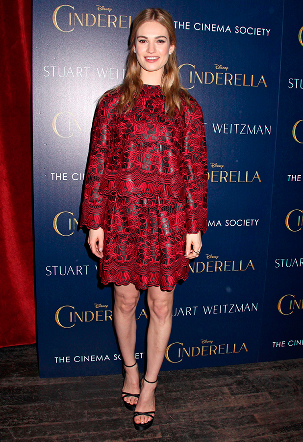 Cinema Society 'Cinderella' film screening, New York, America - 08 Mar 2015 Lily James