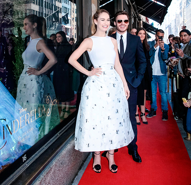 Saks Fifth Avenue Cinderella-inspired shoe collection, New York, America - 09 Mar 2015 Lily James, Richard Madden