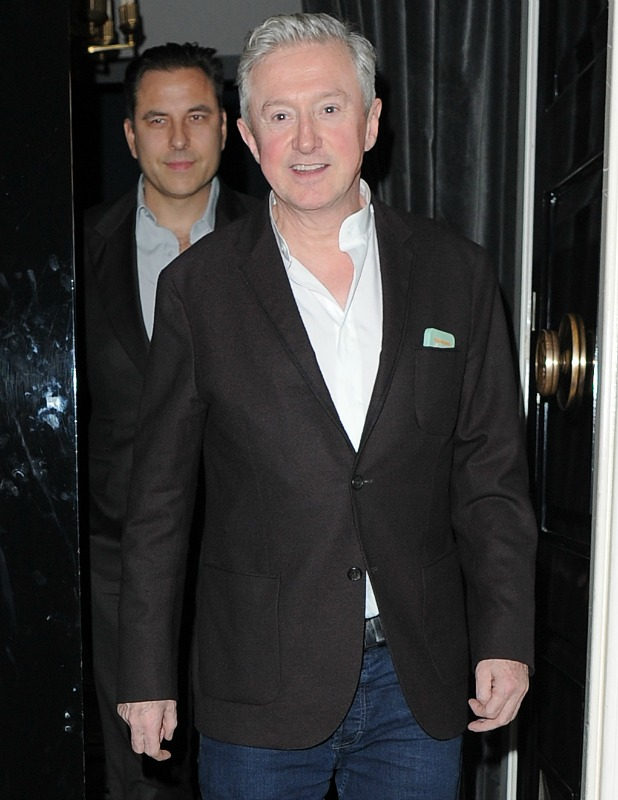 Britain's Got Talent judges on a night out at The Arts Club in Mayfair, 10 March 2015: David Walliams and Louis Walsh