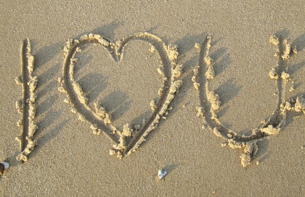'I Love You' written in the sand Feb 2007