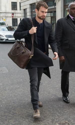 Theo James pictured arriving the Radio 1 studio to appear as a guest on the Nick Grimshaw Breakfast Show. 11 March 2015